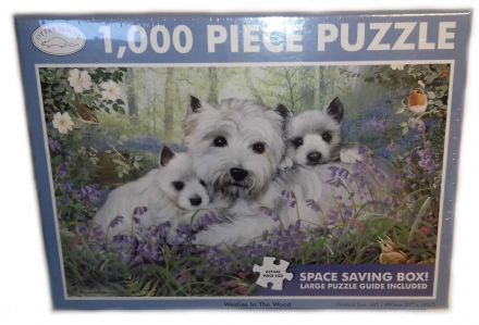 Westies in the Wood Landscape 1000 Piece Jigsaw